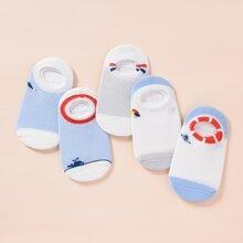 5 Paare Kleinkind Kinder Socken mit Farbblock