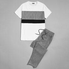 T-Shirt mit Kontrast Einsatz & Hose mit Karo Muster