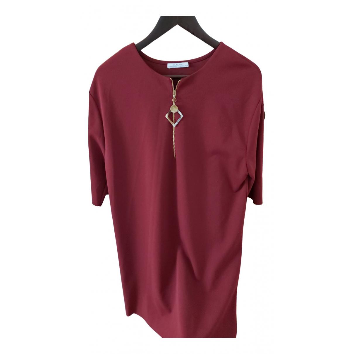 Zara \N Burgundy Cotton dress for Women 38 FR