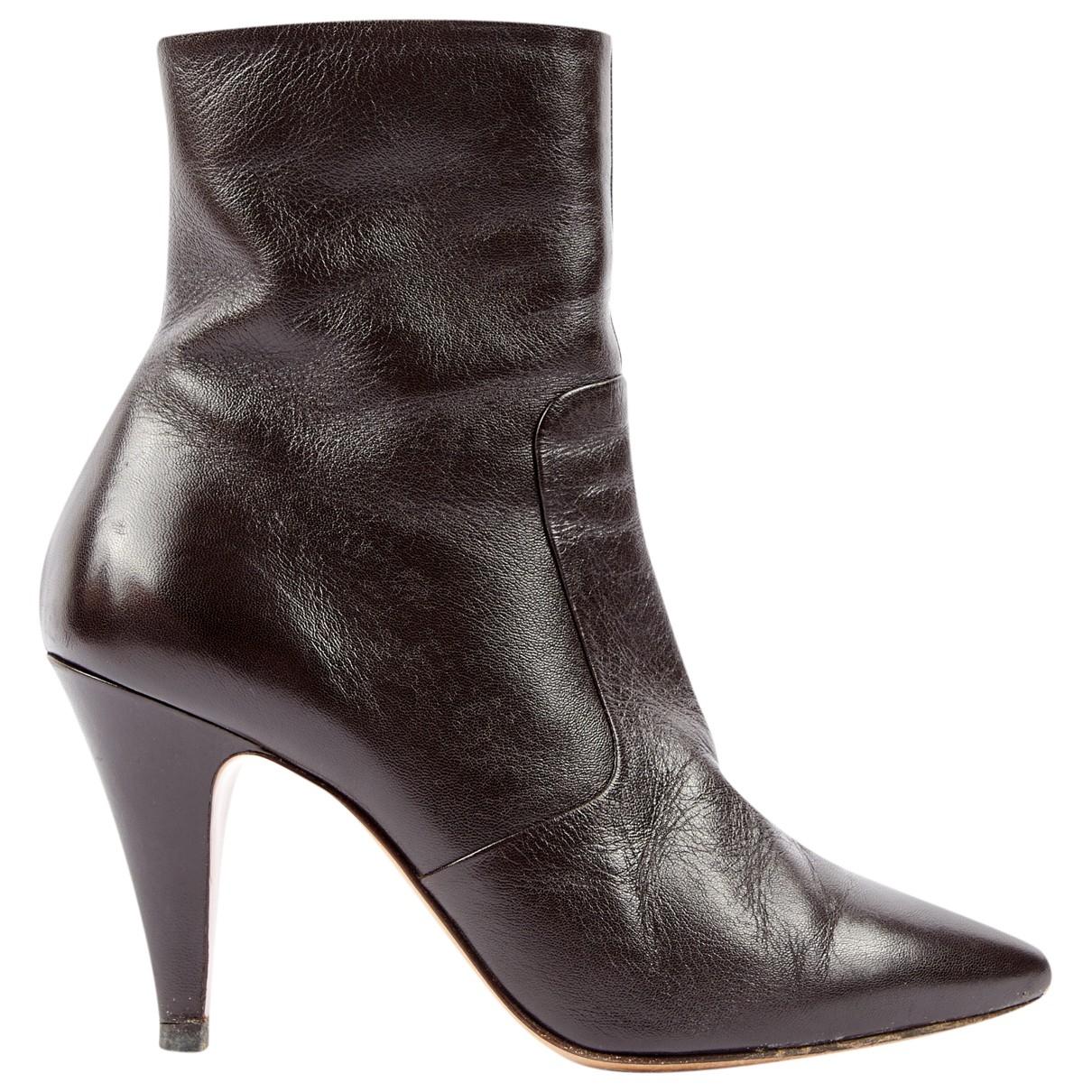 Celine - Boots   pour femme en cuir - marron