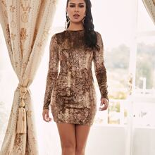 Snakeskin Print Velvet Bodycon Dress