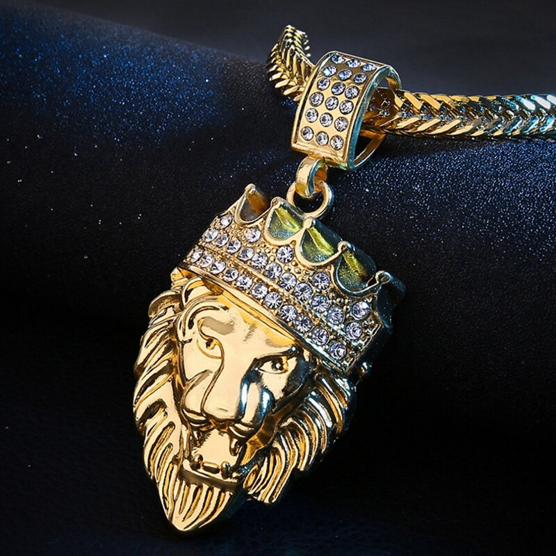 Hip Hop Lion Head Gold Necklace Rhinestone Metal Pendant Necklace For Men