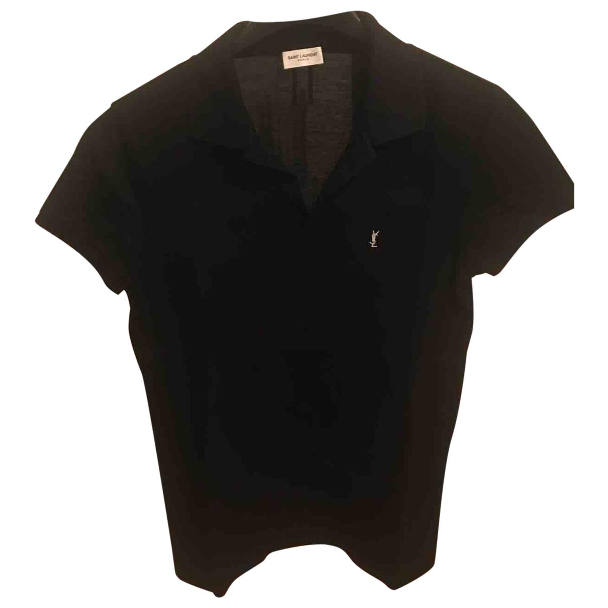 Polo en Algodon Negro Saint Laurent