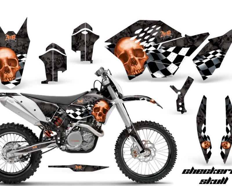AMR Racing Dirt Bike Graphics Kit Decal Wrap For KTM SX/XCR-W/EXC/XC/XC-W/XCF-W 2007-2011áCHECKERED ORANGE BLACK