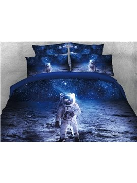 Astronaut Walking in Space Printed 4-Piece 3D Blue Bedding Sets/Duvet Covers