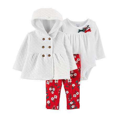 Carter's Baby Girls 3-pc. Pant Set, 3 Months , White
