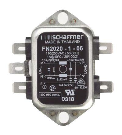 Schaffner , FN2020 1A 250 V ac 400Hz, Chassis Mount RFI Filter, Tab