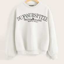 Drop Shoulder Embroidered Letter Pullover