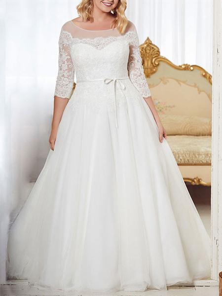 Milanoo Wedding Dresses 2020 A Line Jewel Neck Half Sleeve Floor Length Tulle Lace Vintage Bridal Gowns