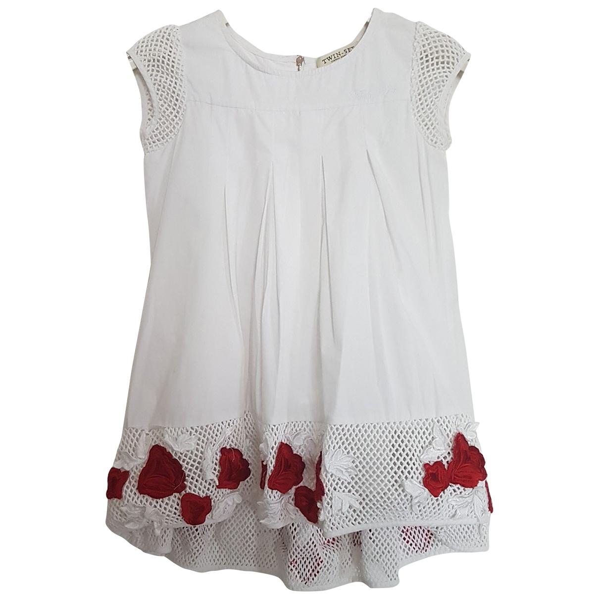 Twin Set - Robe    pour enfant en coton - blanc