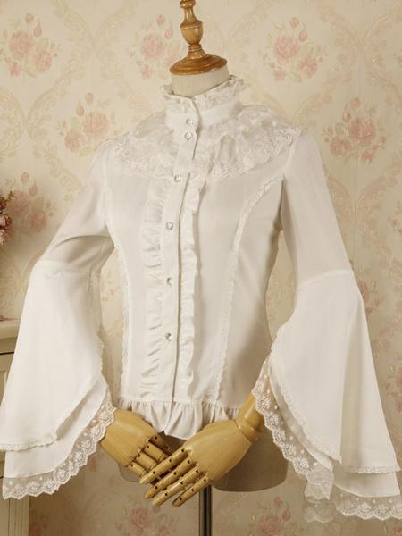 Milanoo Classic Lolita Blouse Lace Layered Ruffle Chiffon White Lolita Shirt