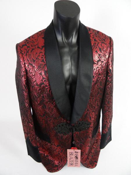 Mens Single Breasted Shawl Lapel Jacket Blazer Red Black