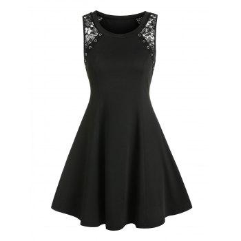 Sheer Lace Insert Grommet Sleeveless A Line Dress