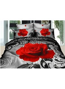 3D Red Rose and Leopard Printed Cotton 4-Piece Bedding Sets/Duvet Cover