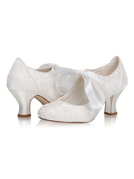 Milanoo Vintage Wedding Shoes Round Toe Kitten Heel Bridal Shoes