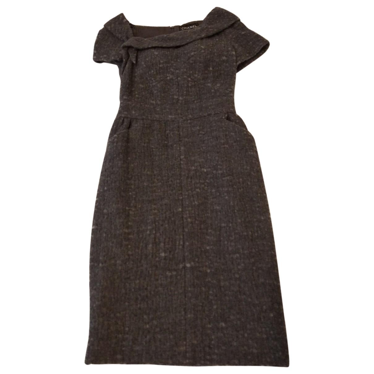 Chanel - Robe   pour femme en laine - gris