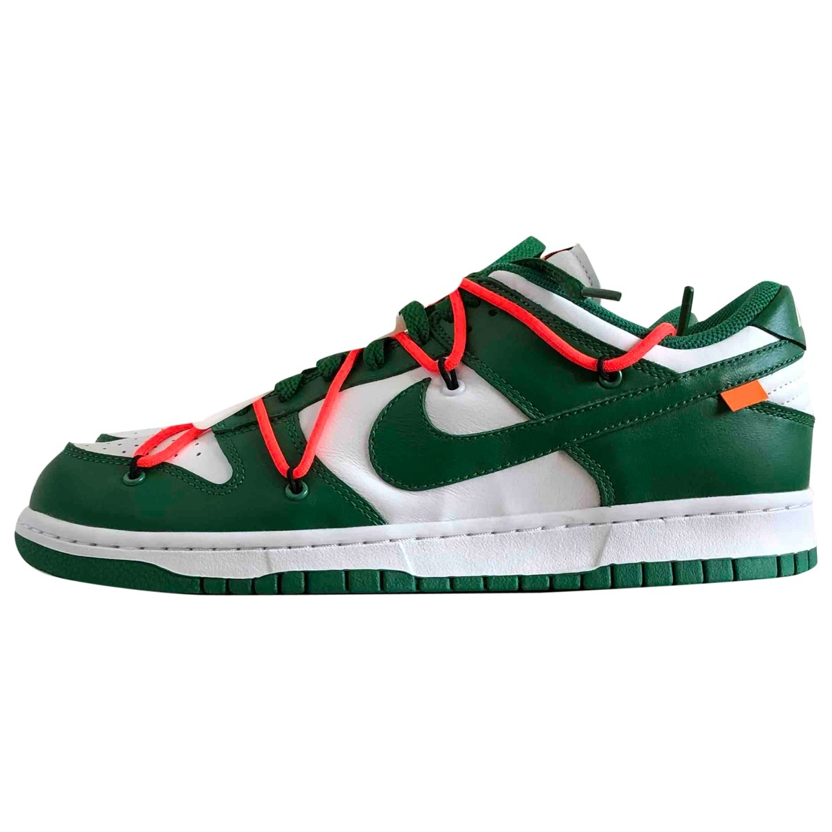 Nike X Off-white Dunk Low Green Leather Trainers for Men 44 EU