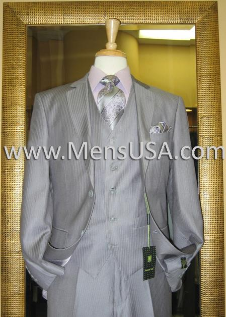 2 Button 3 Piece Grey Pinstripe Fitted Suit