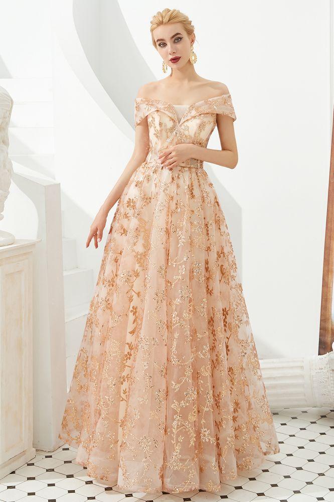 Hale   Robe de bal romantique en tulle a lacets en or rose avec appliques scintillantes
