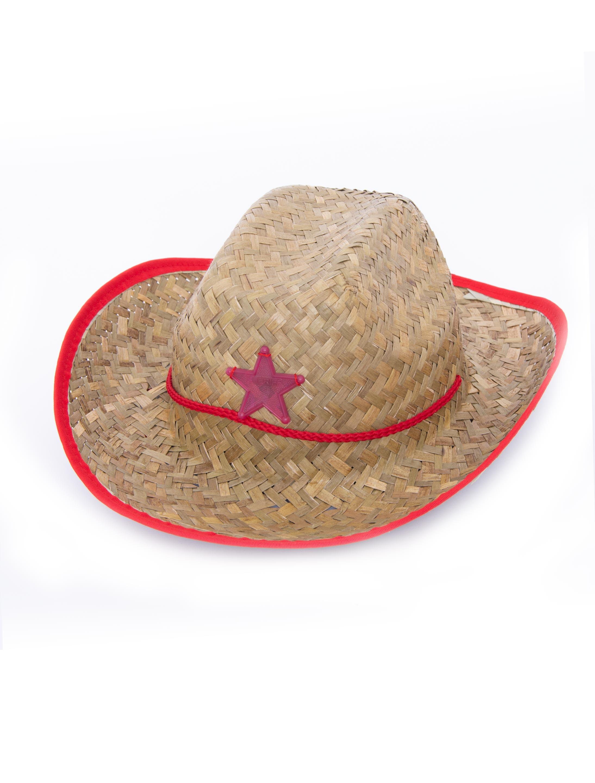 Kostuemzubehor Cowboyhut mit Stern beige/rot