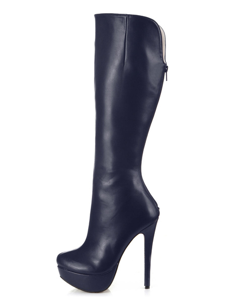 Milanoo Black Platform Wide Calf Boots Women's Platform Stiletto Heel Knee High Boots
