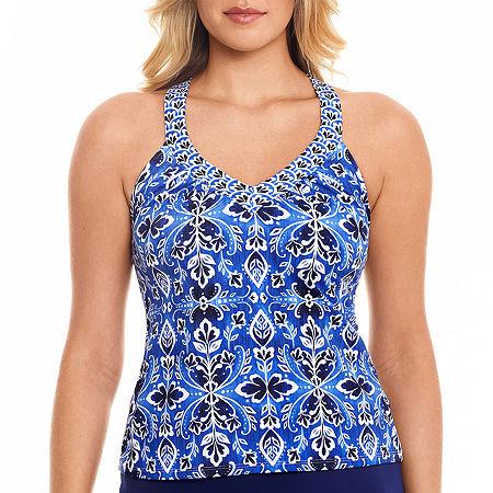 St. John's Bay Medallion Tankini Swimsuit Top, 8 , Blue