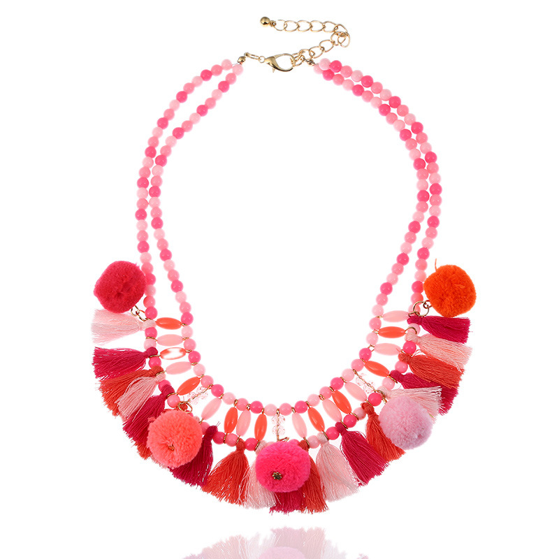 Unique Multicolor Plush Colorful Balls Women Jewelry