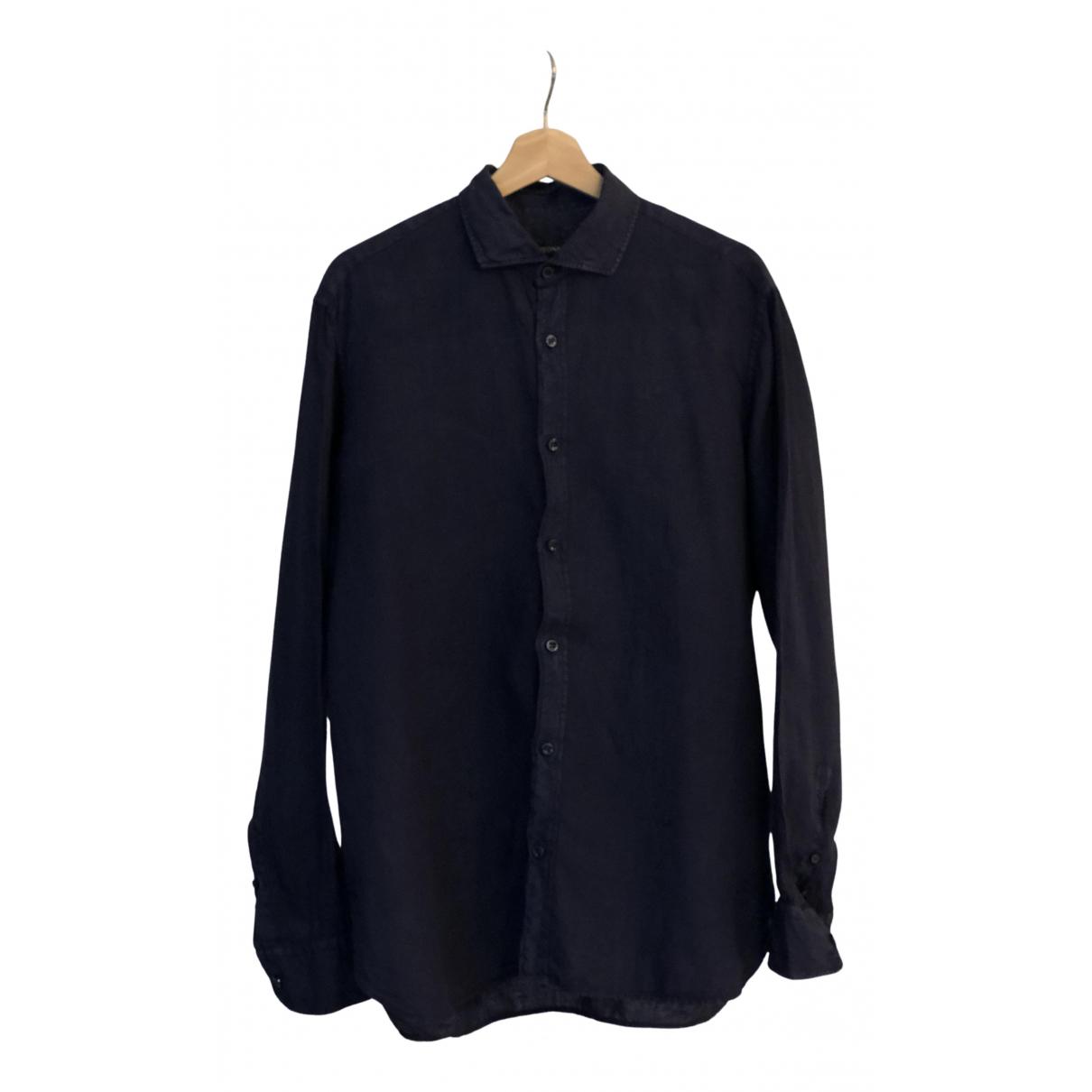 Z Zegna - Chemises   pour homme en lin - marine