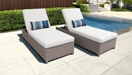 Florence Collection FLORENCE-W-2x-WHITE Set of 2 Chaises - Grey and White