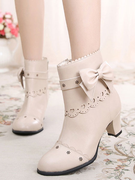 Milanoo Classic Lolita Boots Bow Cut Out Chunky Heel Lolita Shoes