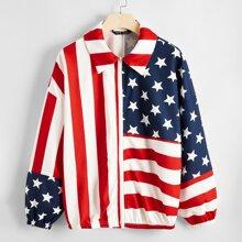 Jacke mit amerikanischer Flagge Muster und Reissverschlussleiste