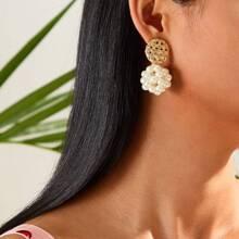 Pendientes con diseño de perla artificial redonda 1 par