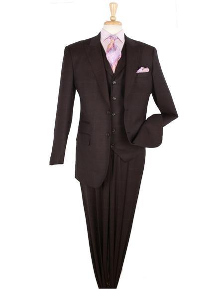 1 Wool Fashion Suit Pleated Pants Plaid ~ Windowpane Hounds