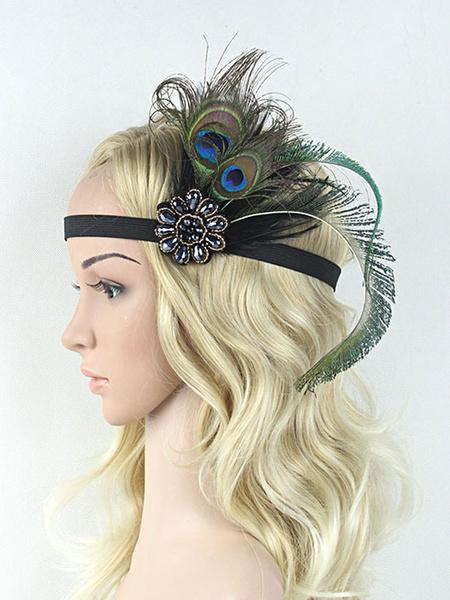 Milanoo Flapper Headband 1920s Costume The Great Gatsby Feather Women Black Vintage Costume Accessories Halloween