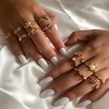 13 piezas anillo con diamante de imitacion