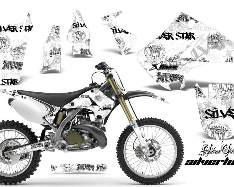 AMR Racing Dirt Bike Decal Graphics Kit Wrap For Kawasaki KX125 | KX250 2003-2016áSSSH BLACK WHITE