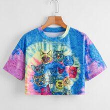 Cartoon Cat Print Tie Dye Crop Tee