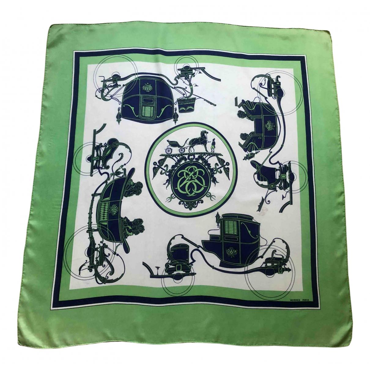 Hermes - Carre Carre 90 pour femme en soie - vert