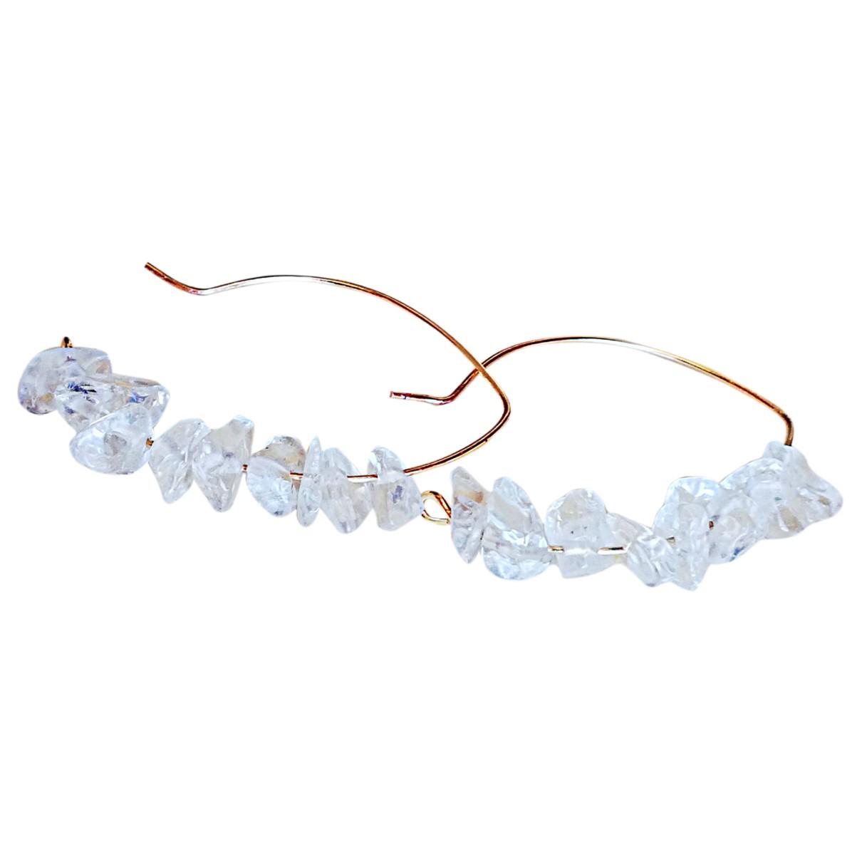 - Boucles doreilles   pour femme en cristal - blanc