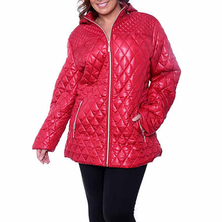White Mark Hooded Puffer Jacket-Plus, 1x , Red
