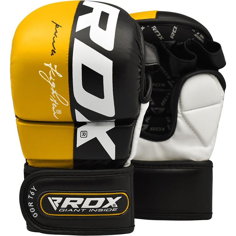 RDX T6 Guantes de Grappling MMA Cuero PU Amarillo Grande