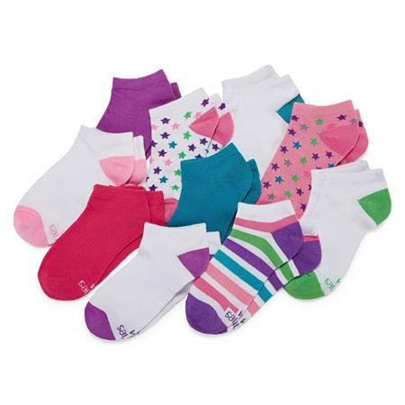 Hanes Big Girls 10 Pair Low Cut Socks, Large , Multiple Colors