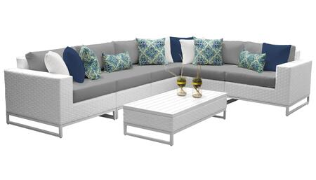 Miami MIAMI-07g-GREY 7-Piece Wicker Patio Furniture Set 07g with 1 Corner Chair  3 Armless Chairs  1 Coffee Table  1 Left Arm Chair and 1 Right Arm