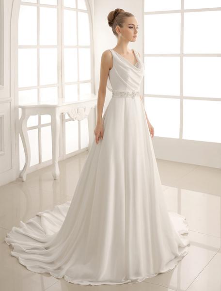 Milanoo Turndown Collar Brides Wedding Dress With Pleated Satin