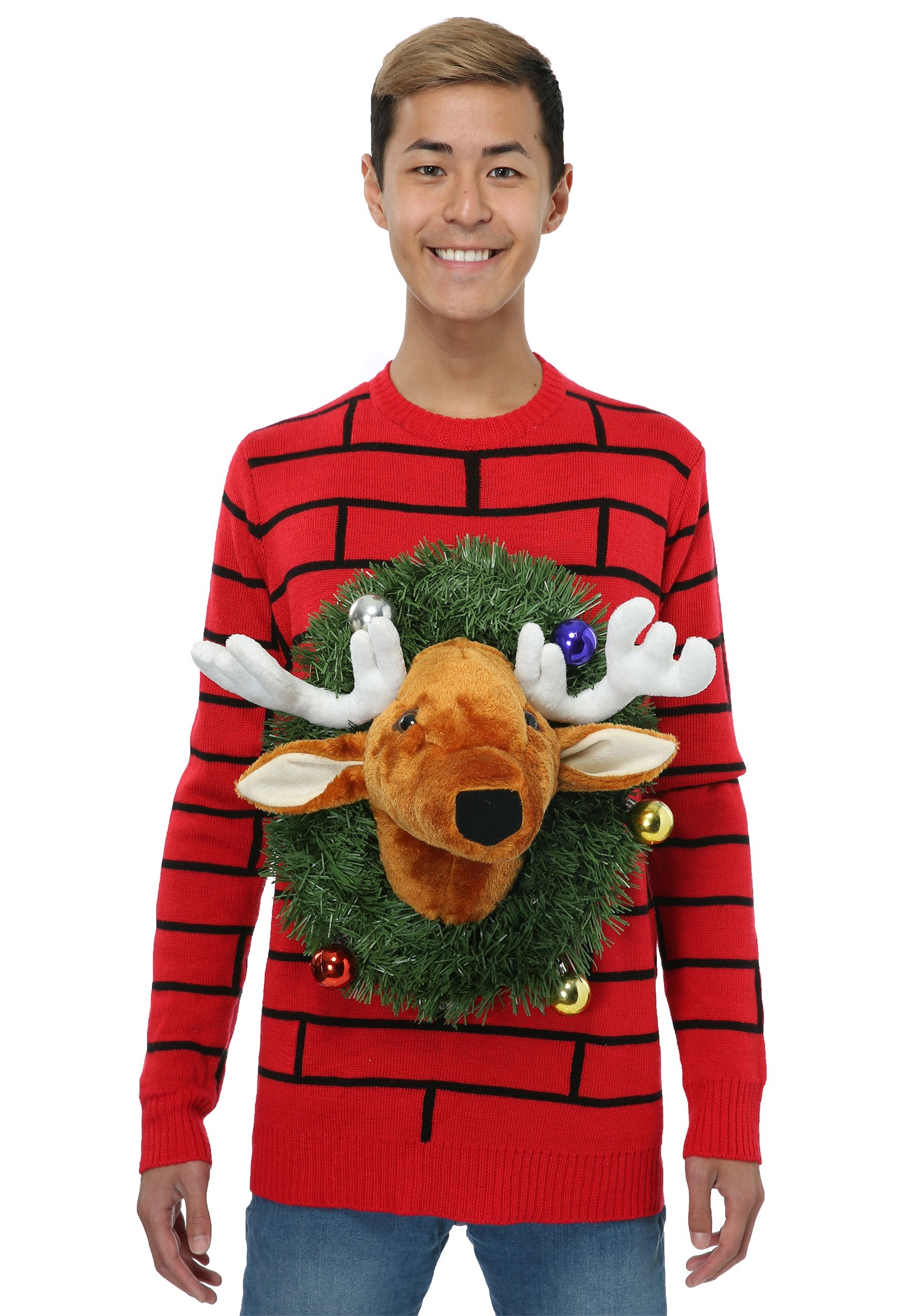 Reindeer Head Ugly Christmas Sweater for Adults