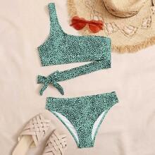 Bikini Badeanzug mit Dalmatiner Muster und einer Schulter