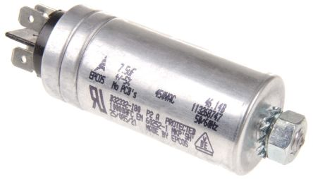 EPCOS 7.5μF Polypropylene Capacitor PP 450V ac ±5% Tolerance Stud Mount B32332 Series