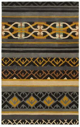 PANPR818200160508 Pandora PR8182-5 x 8 Hand-Tufted Hard + Fine-Twist New Zealand Wool Blend Rug in Charcoal  Rectangle