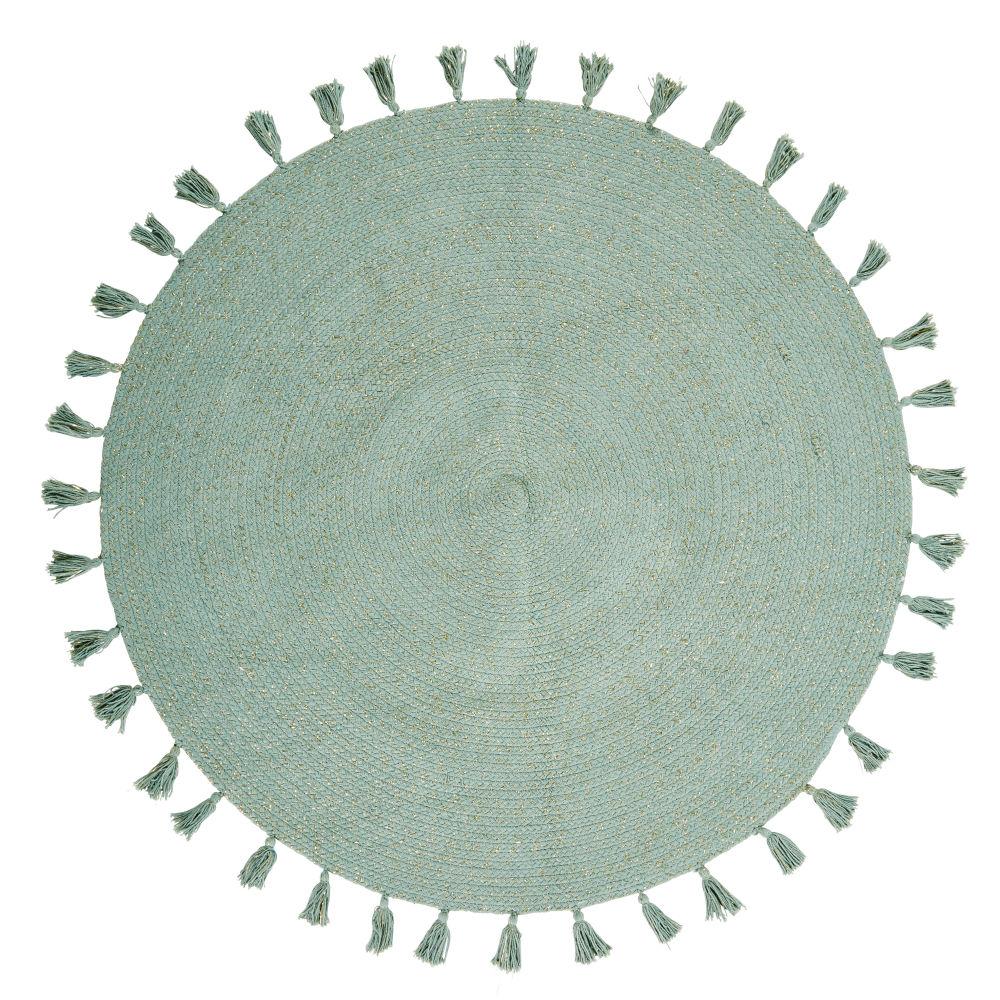Runde Baumwollteppich mit Quasten, gruen D100