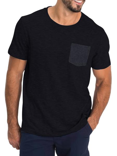 Yoins Men Casual Soft Front Pocket Round Neck Short Sleeve T-shirt